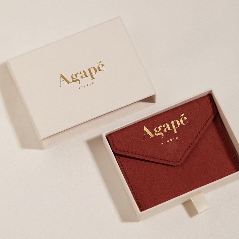 Agapé Studio Achille Bracelet jewelry gold packaging vegan leather drawer box
