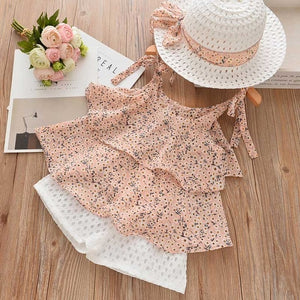 Pink Flower Top n Shorts Outfit / Free Hat