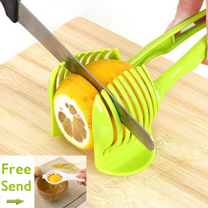 1PC Plastic Green Manual Slicers Tomato Slicer Fruits Cutter Tomato Lemon Cutter Assistant Lounged Cooking Holder Kitchen Tool C