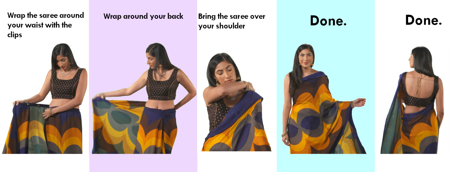 how to wear a one minute saree