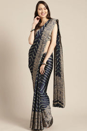 Poly Crepe Saree in Navy Blue and Beige