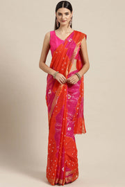 Cotton Blend Saree in Orange and Pink