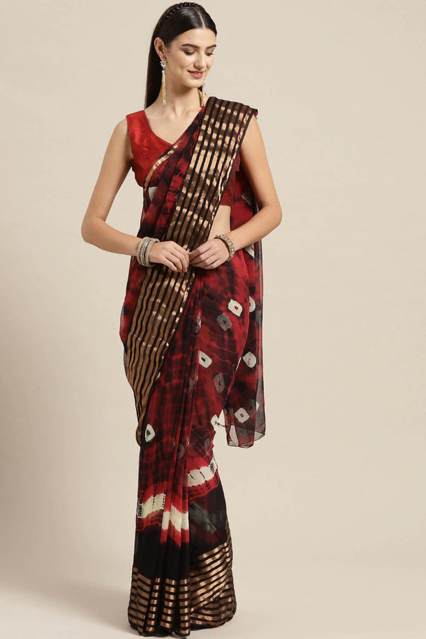 Poly Chiffon Saree in Maroon and Black