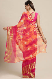 Poly Chiffon Saree in Peach and Pink