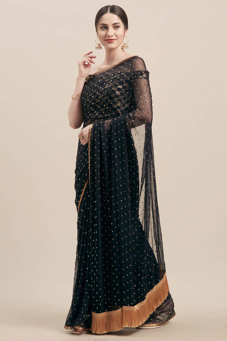 Classic Saree in Black And Gold Online