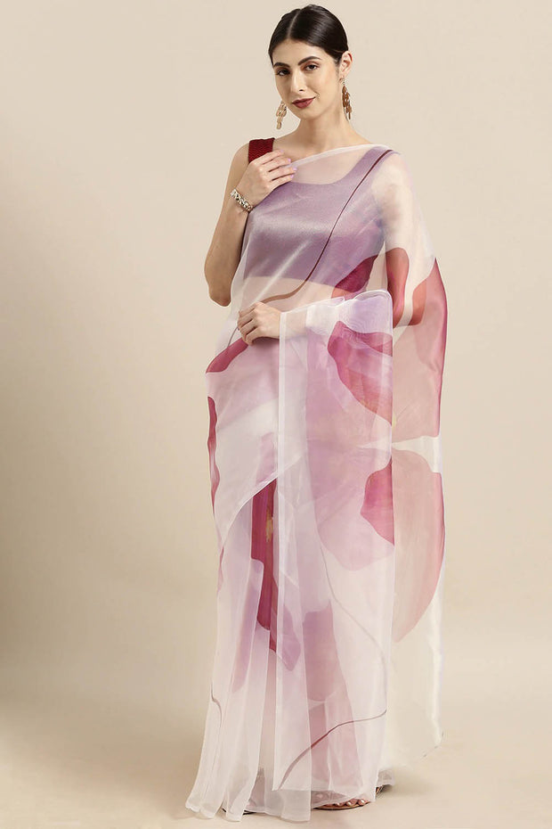 Organza Saree in White and Pink