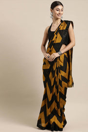 Poly Crepe Saree in Yellow and Black