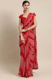 Poly Georgette Saree in Red and White