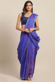 Art Silk Saree in Blue and Red