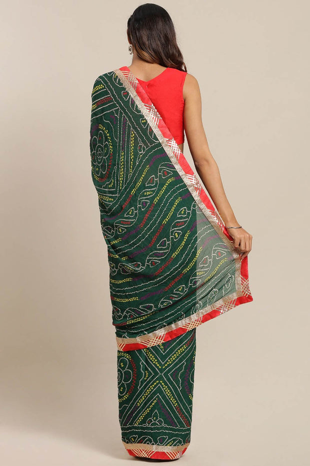 Poly Georgette Saree in Green