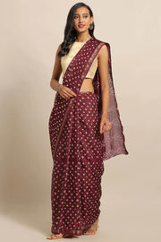 Art Silk Saree in Maroon and White