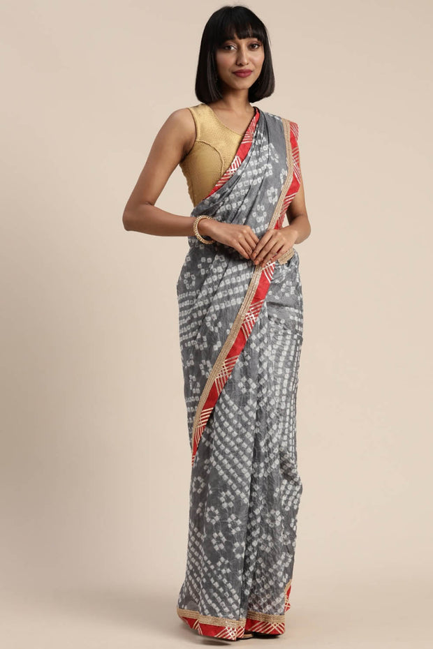 Art Silk Saree in Grey and White