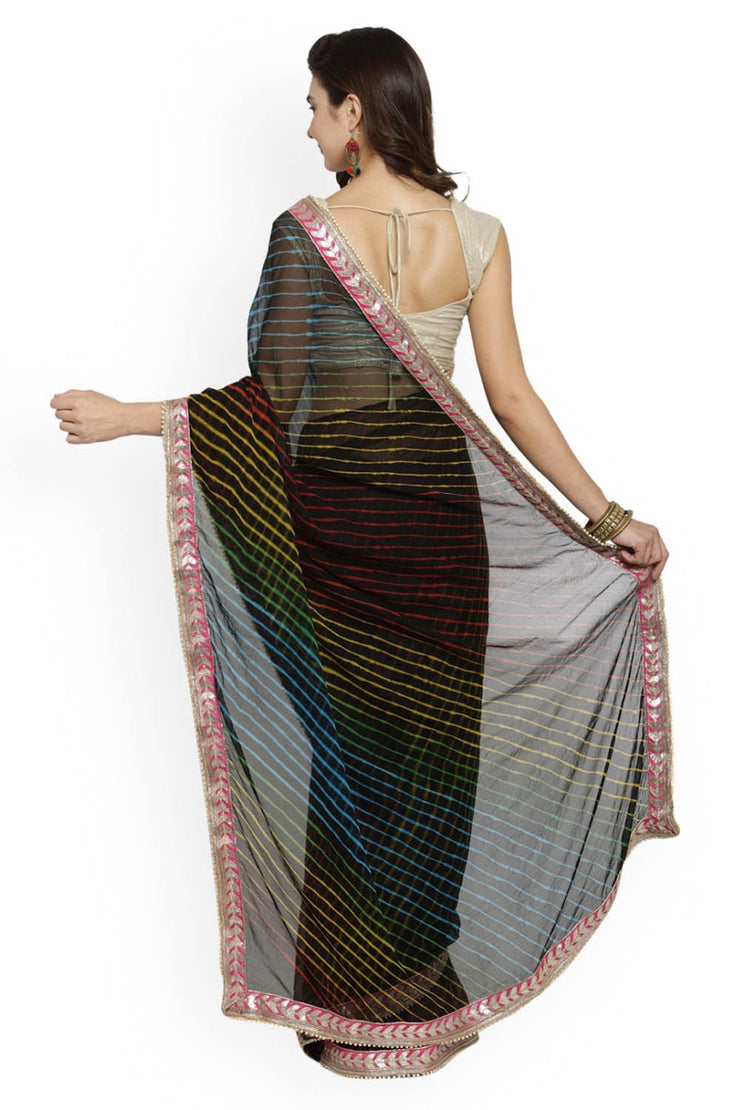 Black Chiffon Printed Saree With Blouse Online