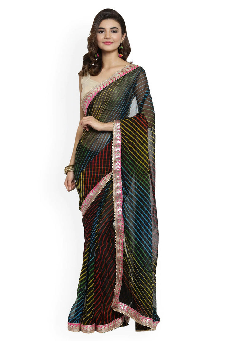 Poly Chiffon Saree in Black at Best price