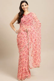 Poly Crepe Saree in Pink