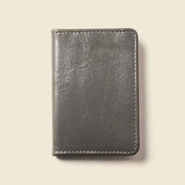 Grey compact leather bifold wallet