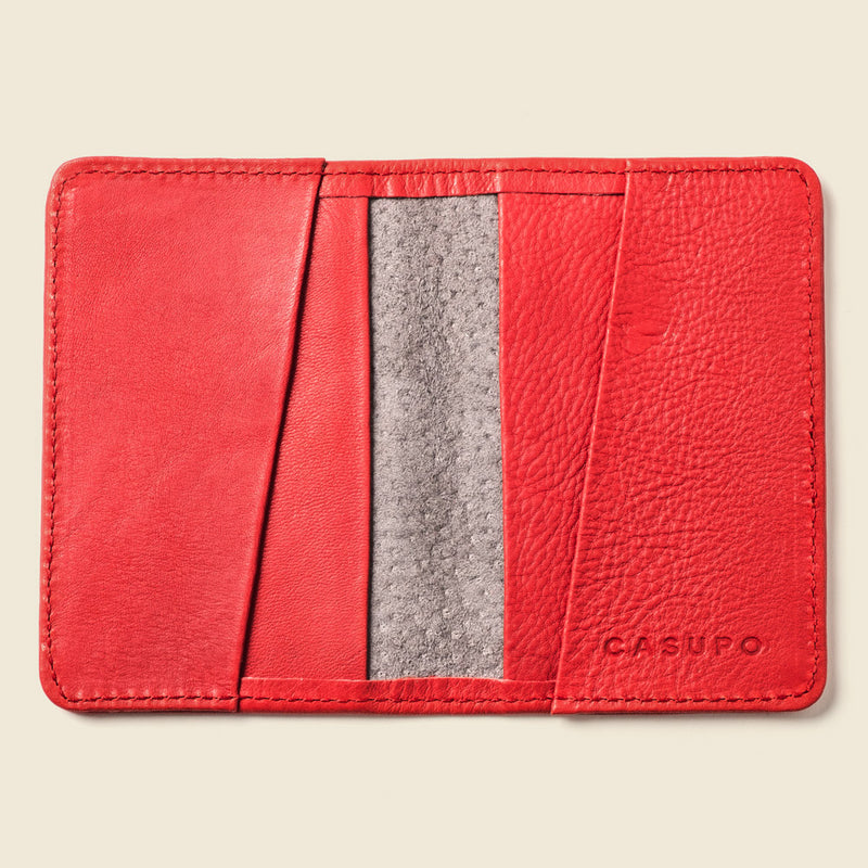 red compact wallet