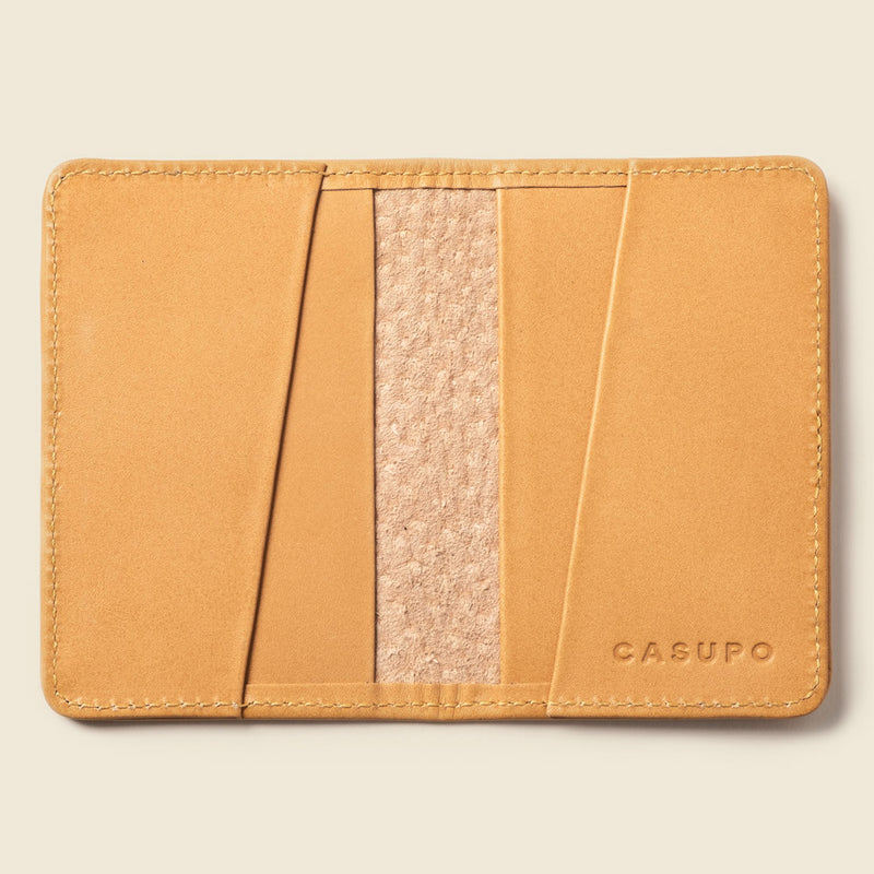 Compact bifold leather wallet for women