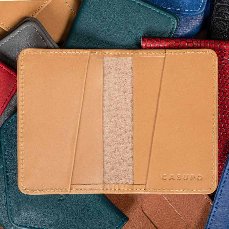 Compact leather wallets for cards and cash