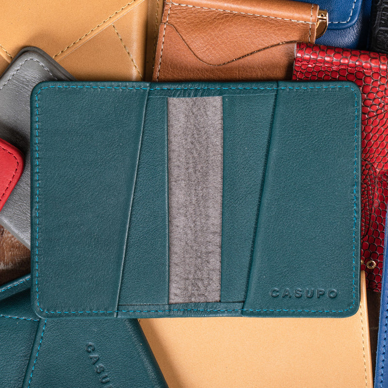 Teal leather cardholder