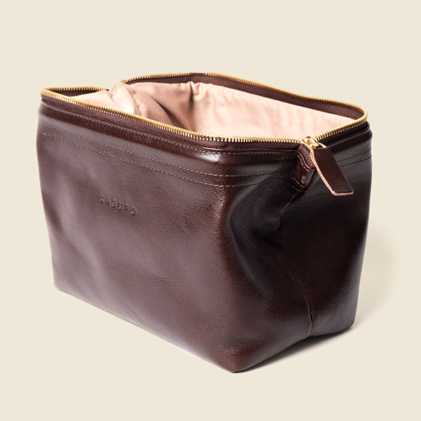 brown leather dopp kit for men