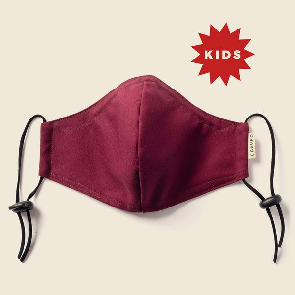 KID'S FACE MASK BURGUNDY / PEACH