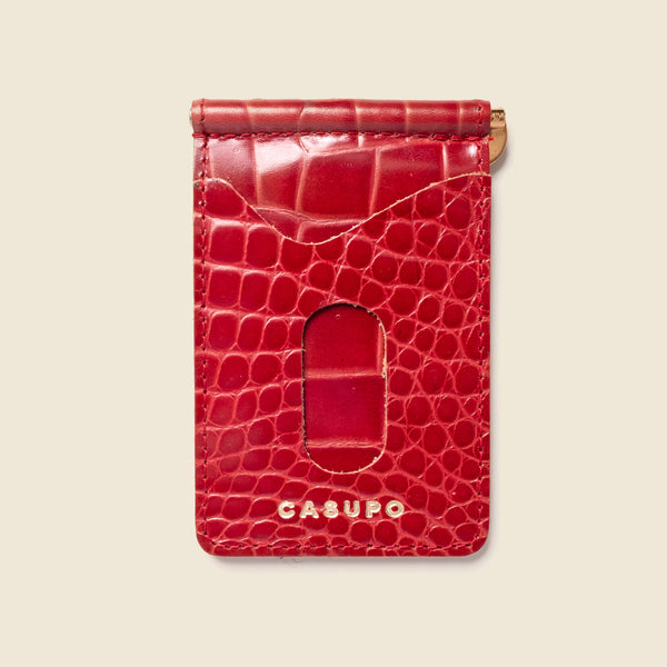 Money Clip Wallet - Red Croc