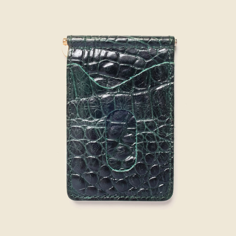 Money Clip Wallet - Green Croc