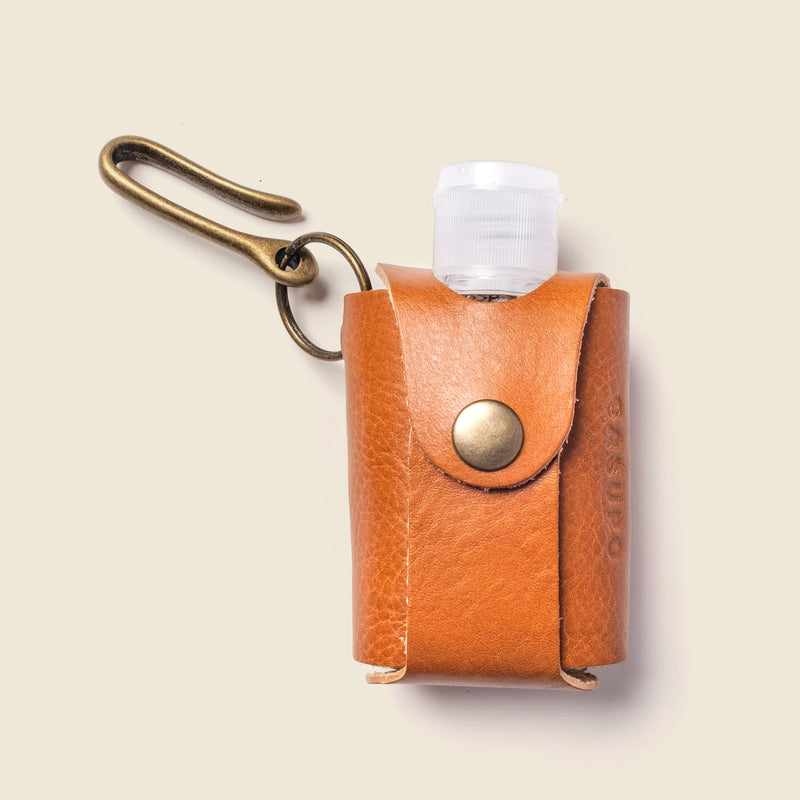brown leather hand gel holder