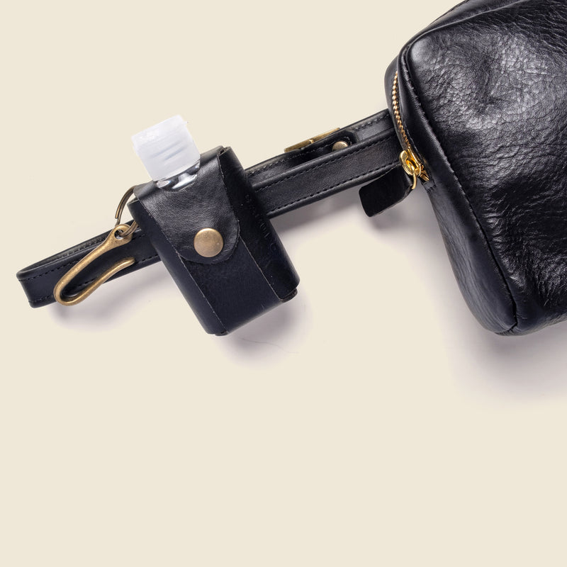Leather Hand Sanitizer Bottle Holder - Black