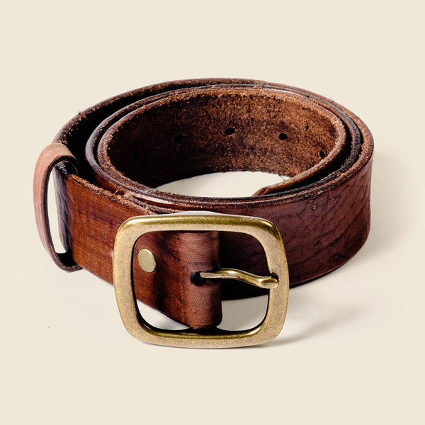 Brown leather belt for dress pants