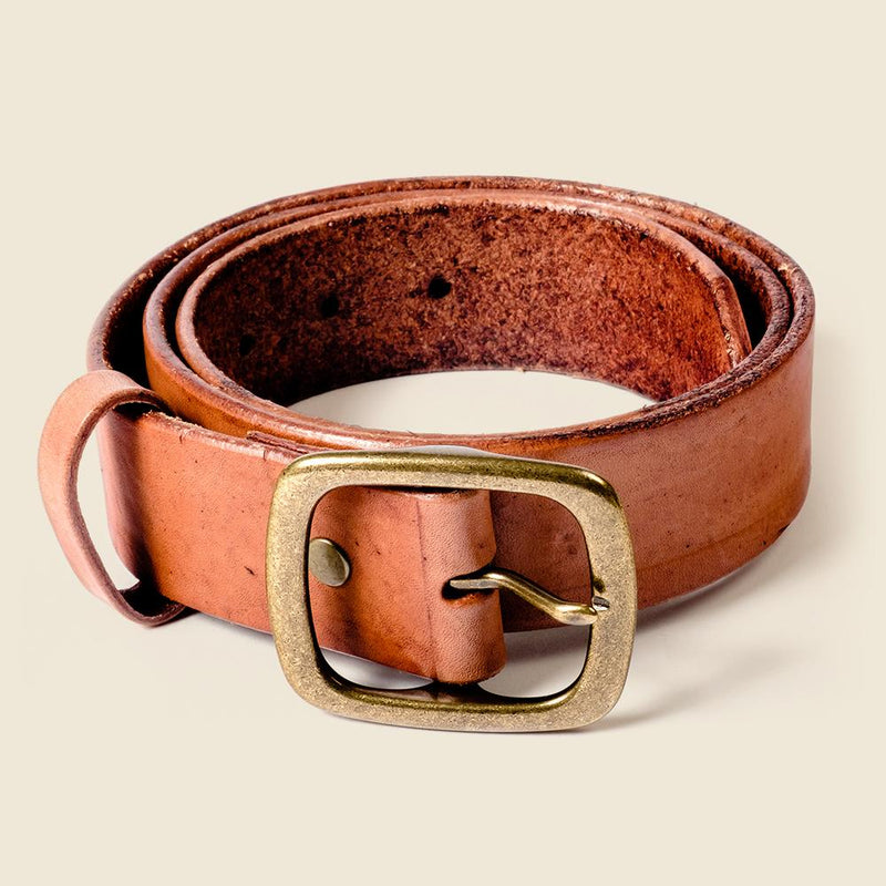 brown classic leather belt for denim