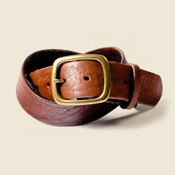 Red brown leather belt for jean