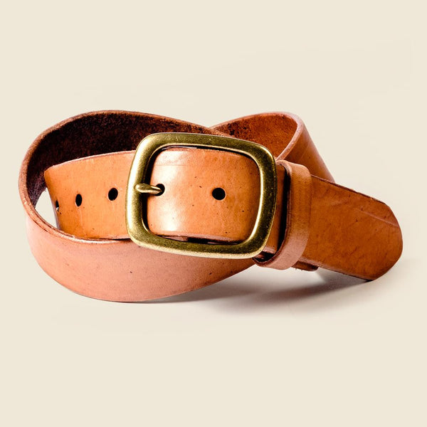 saddle brown leather belt for men