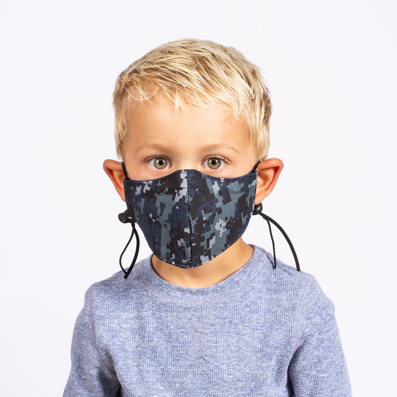 KID'S FACE MASK BLUE CAMO