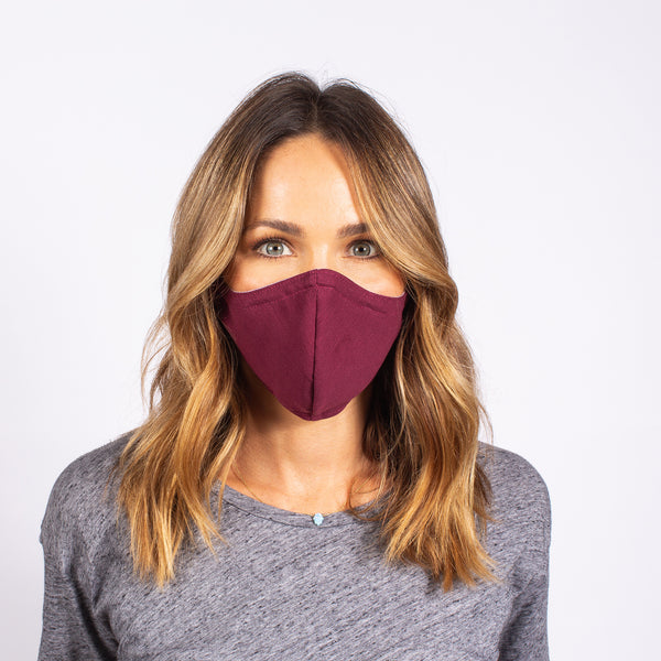 FACE MASK CHAMBRAY / BURGUNDY
