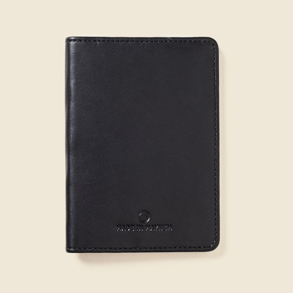 Black passport wallet for men