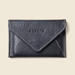 Black leather card holder envelope