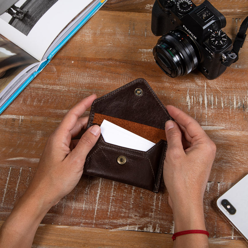 Brown leather business card holder for women
