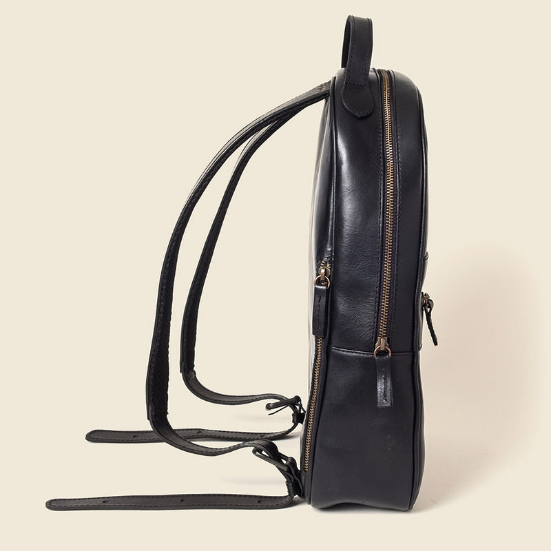 eco friendly black leather backpack for men