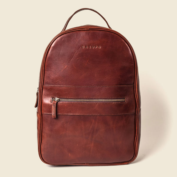 eco friendly brown leather backpack