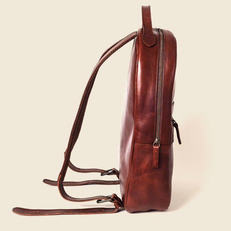 Compact leather backpack for men