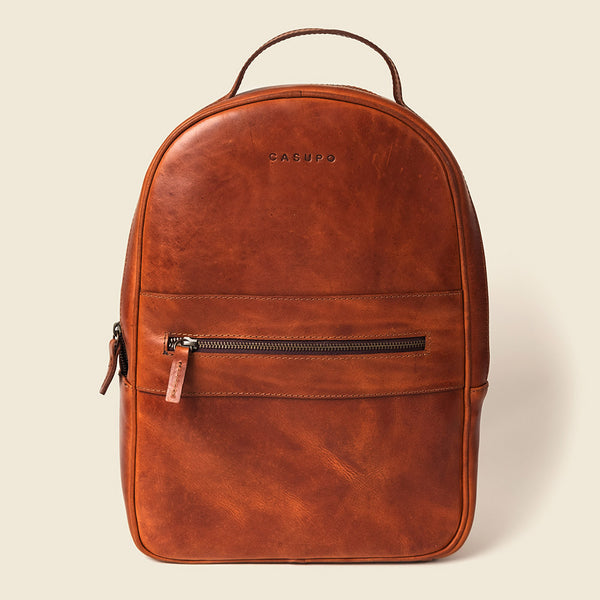 Whiskey leather backpack for women
