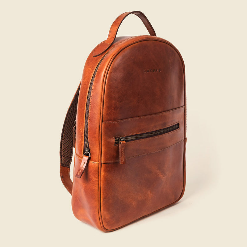 Handmade brown leather backpack for men