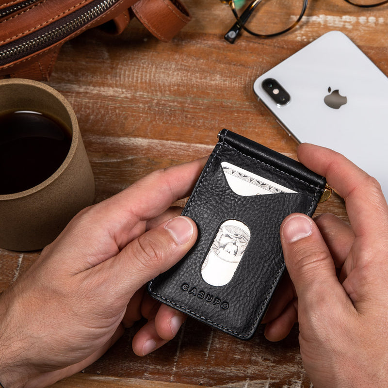 Wallet with money clip in the middle for men