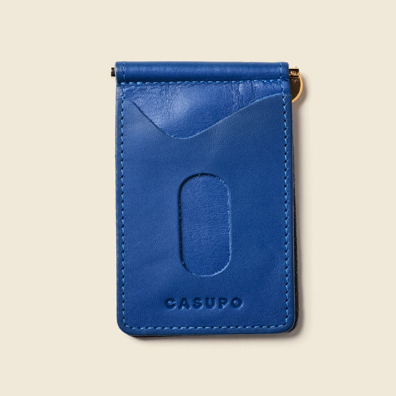 compact leather wallet with money clip