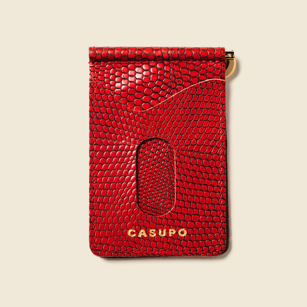 Money Clip Wallet - Red Lizard