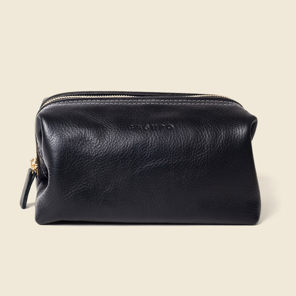 Black leather dopp kit bag for toiletries