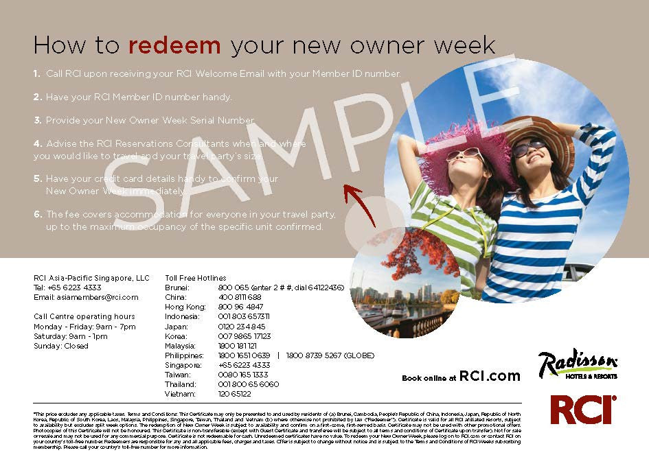 New Owner Certificate B - English (SGD) | RCI eStore