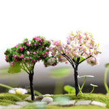 Plastic Mini Simulation Trees Willow Sakura Miniatures  Kawaii  Micro landscape Setting For Garden 1PC New Garden Figurines